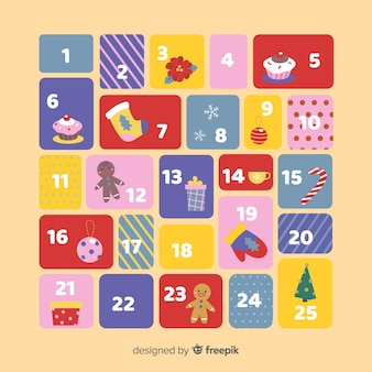 Calendário de advento de elementos de natal