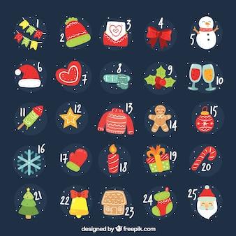Calendário de advento desenhado à mão com personagens e elementos de natal