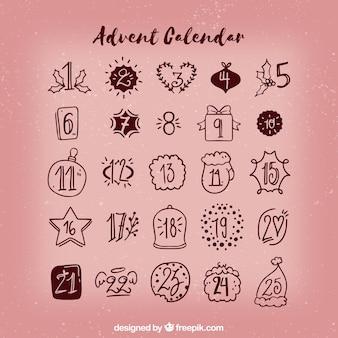 Calendário de advento desenhado a mão simples em rosa