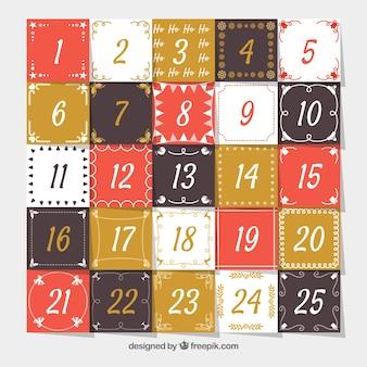 Calendário de advento em marrom, vermelho e ocre