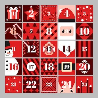 Calendário de advento festivo de design plano