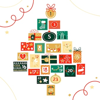 Calendário de advento festivo de mão desenhada