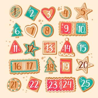 Calendário de advento festivo em aquarela