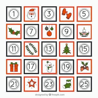Calendário de advento minimalista desenhado à mão