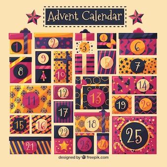Calendário de advento plano com presentes de natal