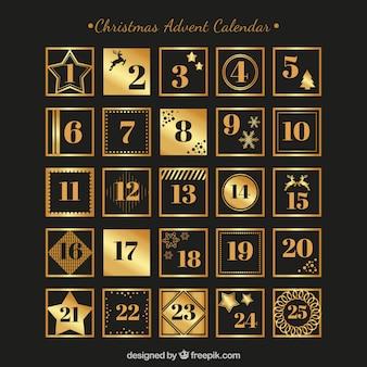 Calendário de advento preto e dourado