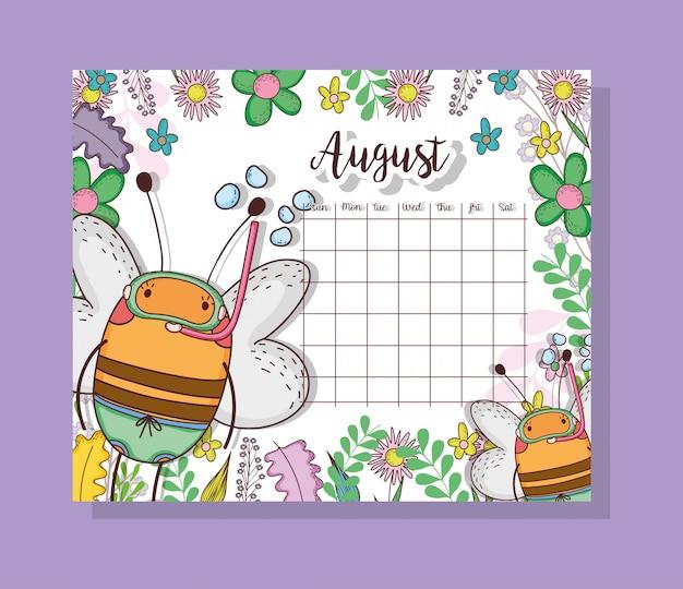 Calendário de agosto com animal bonito abelhas