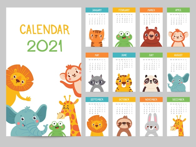 Calendário de animais 2021. calendário mensal fofo com diferentes animais, personagens engraçados da floresta e savana, almanaque de vetor de pôster infantil. leão e elefante, macaco e girafa, sapo e guaxinim