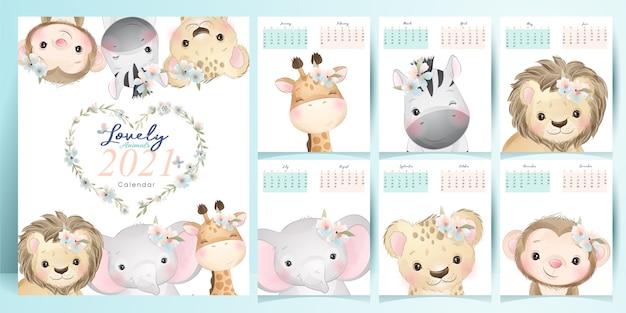 Calendário de animais doodle fofos para a coleção do ano