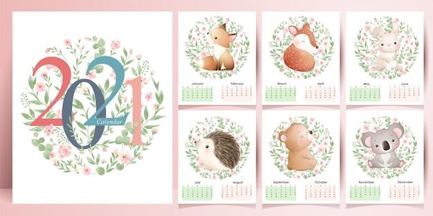 Calendário de animais fofos para coleção anual