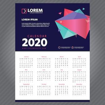 Calendário de ano novo 2020 modelo