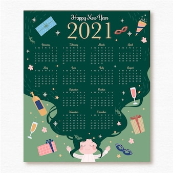 Calendário de ano novo 2021 desenhado à mão com presentes e chapéu de festa