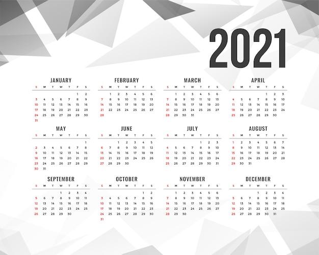 Calendário de ano novo abstrato com formas de triângulo cinza