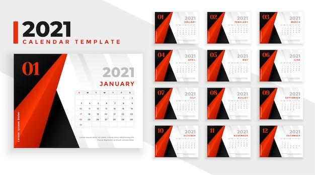 Calendário de ano novo abstrato vermelho preto