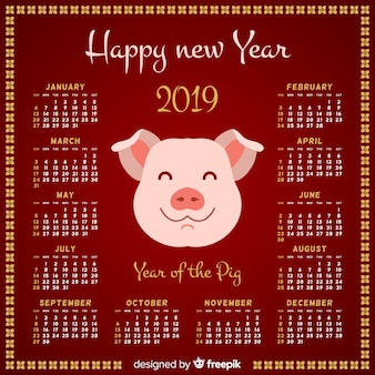 Calendário de ano novo chinês cara de porco sorridente