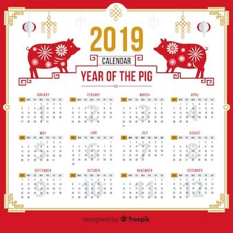 Calendário de ano novo chinês de silhueta de porco