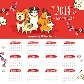 Calendário de ano novo chinês desenhado a dedo
