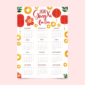 Calendário de ano novo chinês em estilo aquarela