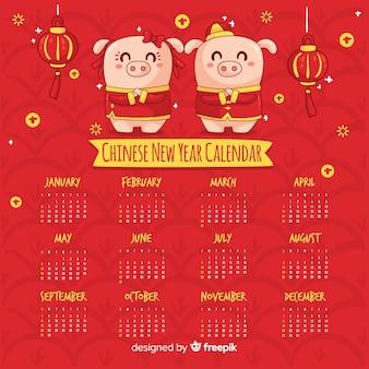 Calendário de ano novo chinês porcos dos desenhos animados