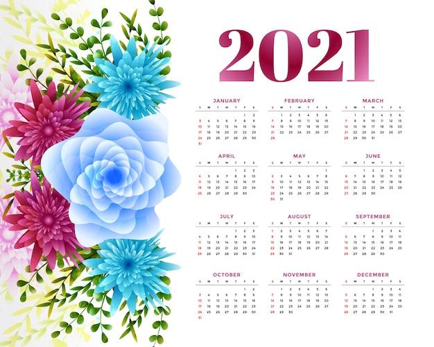 Calendário de ano novo com decoração de flores