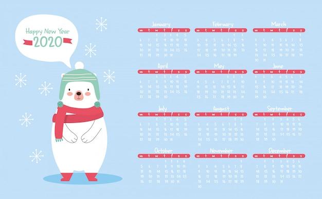 Calendário de ano novo com fofo urso polar.