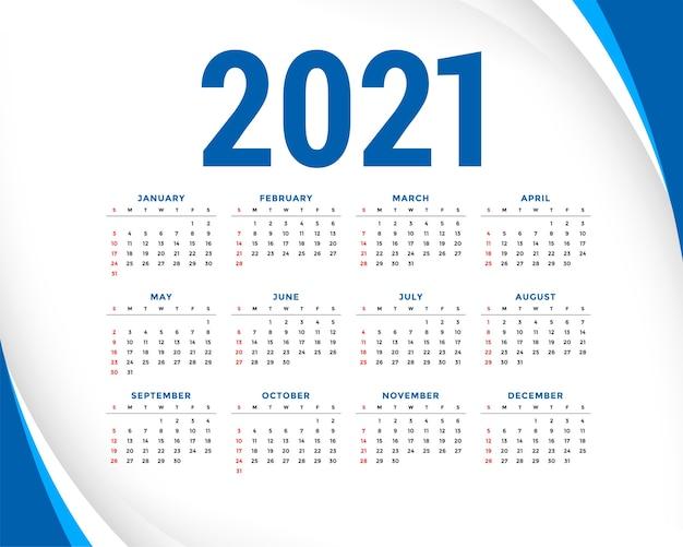 Calendário de ano novo com forma de linhas onduladas azuis