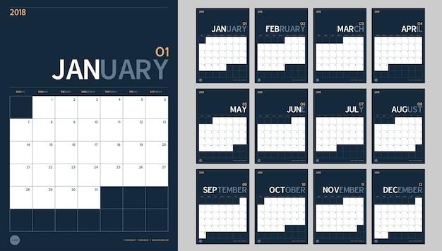 Calendário de ano novo de 2018 definido em estilo minimalista simples limpo e cor azul marinho