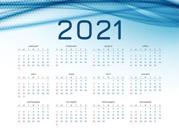 Calendário de ano novo de 2021 com onda azul elegante