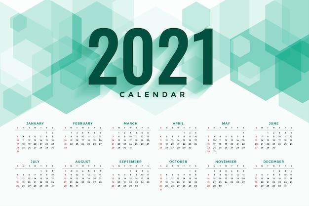 Calendário de ano novo de estilo hexagonal abstrato