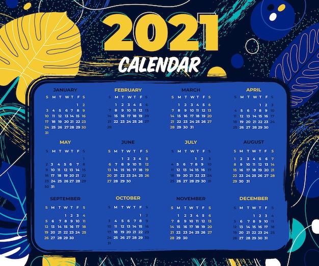 Calendário de ano novo desenhado à mão