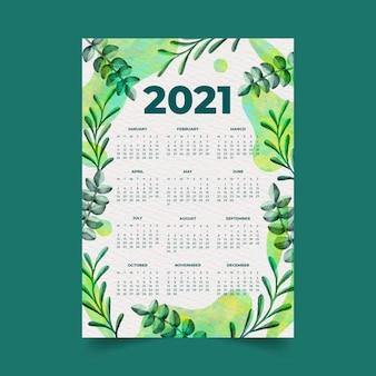 Calendário de ano novo em aquarela de 2021 com folhas