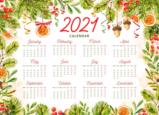 Calendário de ano novo em aquarela de 2021