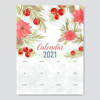 Calendário de ano novo em aquarela floral lindo