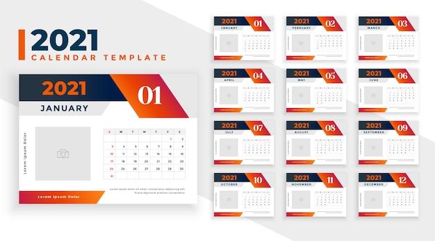 Calendário de ano novo em estilo de forma geométrica