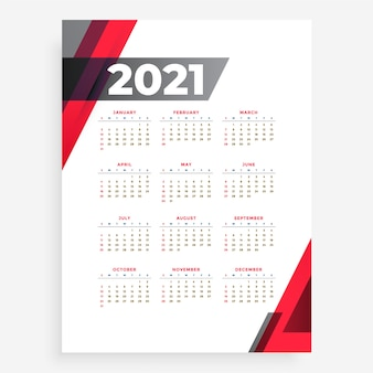 Calendário de ano novo em estilo simples