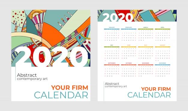 Calendário de bolso 2020 conjunto de vetores de arte contemporânea abstrata. mesa, tela, meses de mesa 2020, modelo de calendário colorido