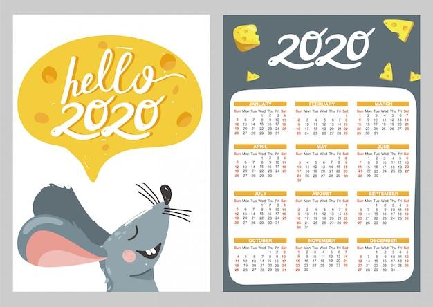 Calendário de bolso com ilustrações de mouse e queijo.