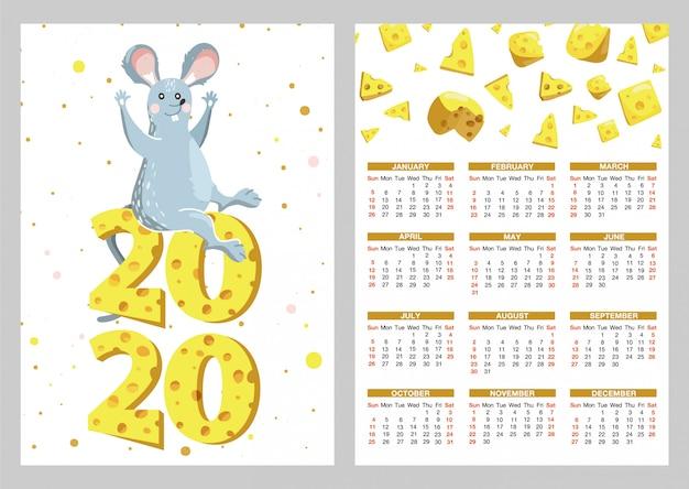 Calendário de bolso com ilustrações de rato engraçado e queijo.