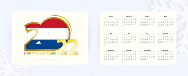 Calendário de bolso horizontal 2022 em holandês. ícone de ano novo 2022 com bandeira da holanda.