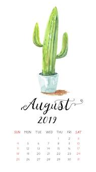 Calendário de cacto aquarela para agosto de 2019.