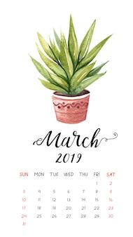 Calendário de cacto aquarela para março de 2019.