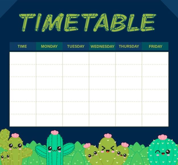 Calendário de cacto ou planejador semanal