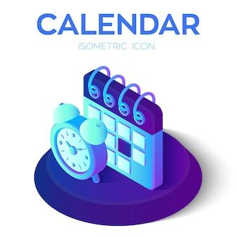 Calendário de calendário isométrico 3d com despertador.