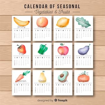 Calendário de comida sazonal de aquarela