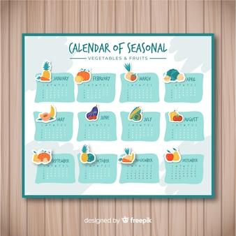 Calendário de comida sazonal de mão desenhada