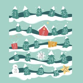 Calendário de contagem regressiva com dias de árvore de natal