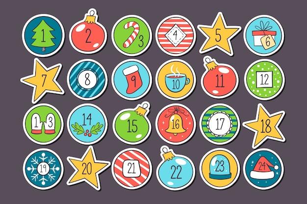 Calendário de contagem regressiva de férias brilhante em design plano