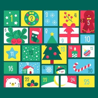 Calendário de contagem regressiva para o dia de natal