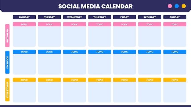 Calendário de conteúdo de mídia social simples e moderno