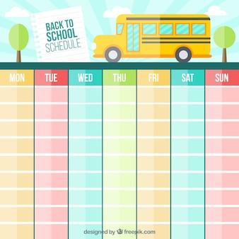 Calendário de cores para voltar para a escola